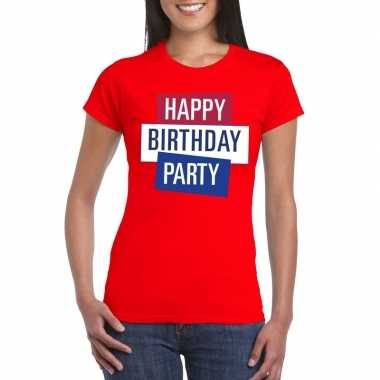 Toppers - rood toppers happy birthday party dames t-shirt officieel