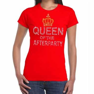 Toppers - rood toppers queen of the afterparty glitter t-shirt dames