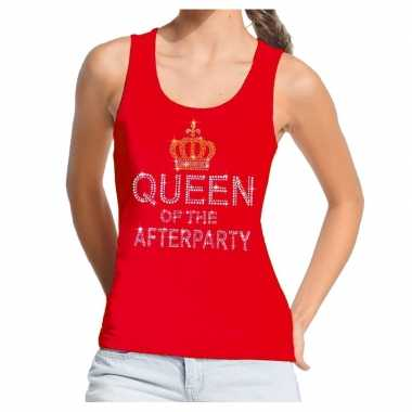 Toppers - rood toppers queen of the afterparty glitter tanktop dames