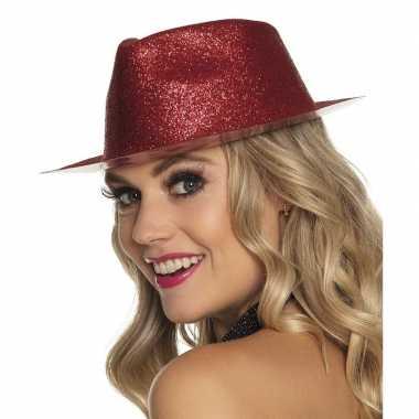 Toppers - rood trilby hoedje met glitters voor dames