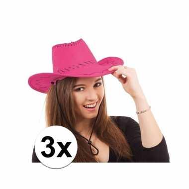 Toppers roze western feesthoeden 3 stuks