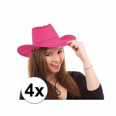 Toppers roze western feesthoeden 4 stuks