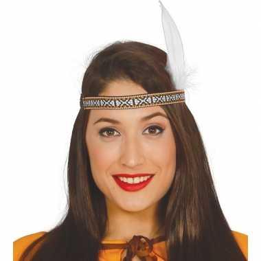 Toppers - witte indianen veer verkleed accessoire