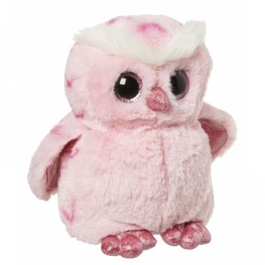 Uil knuffeltje roze 18 cm