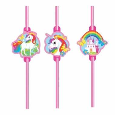 Unicorn decoratie rietjes set van 8