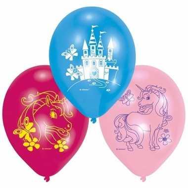 Unicorn feest versiering ballonnen set van 6