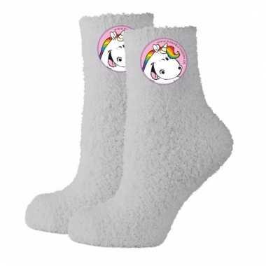 Unicorn huissokken grijs mt 35-38 voor dames
