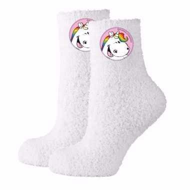 Unicorn huissokken wit mt 35-38 dames