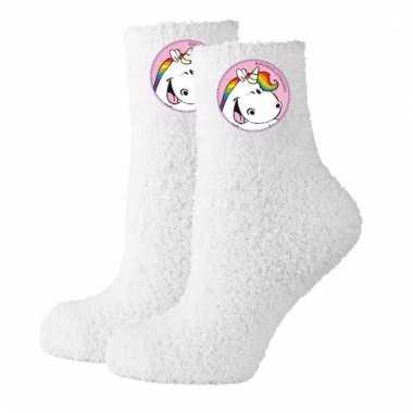 Unicorn huissokken wit mt 39-40 dames