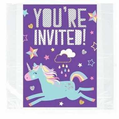 Unicorn kinderfeest uitnodigingen set van 8