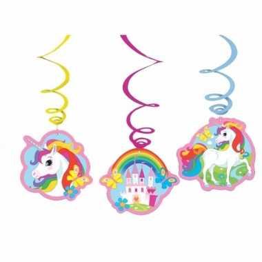 Unicorn versiering rotorspiralen set van 12x