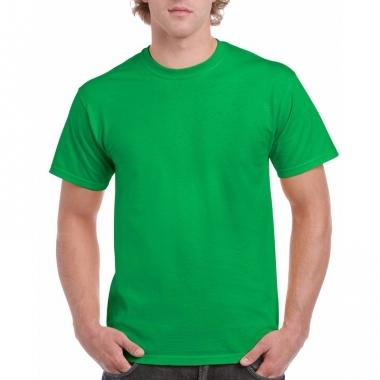 Unisex katoenen shirt felgroen voor volwassenen