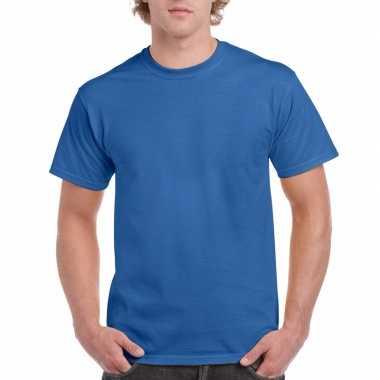 Unisex katoenen shirt kobaltblauw voor volwassenen