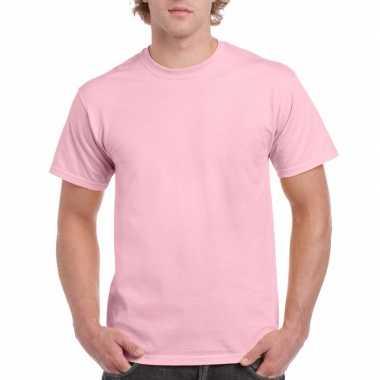 Unisex katoenen shirt lichtroze voor volwassenen