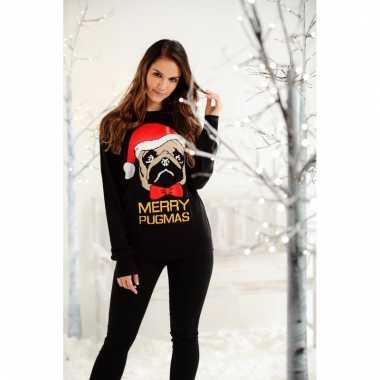 Unisex kerstsweater met mopshondje voor dames/heren