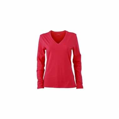 V-hals shirt dames long sleeve roze