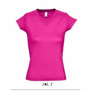 V-hals shirtje dames bodyfit fuchsia