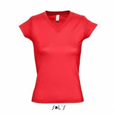 V-hals shirtje dames bodyfit rood