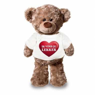 Valentijn - knuffel teddybeer met ik vind je lekker hartje shirt 24 c