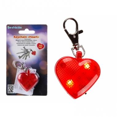 Valentijn sleutelhanger rood hart met verlichting 4 cm
