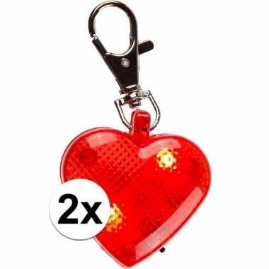 Valentijn sleutelhangers rood hart 2 cm 4 stuks