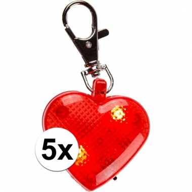Valentijn sleutelhangers rood hart 5 cm 4 stuks