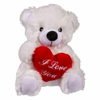 Valentijn - witte pluche knuffelbeer met i love you hartje 22 cm