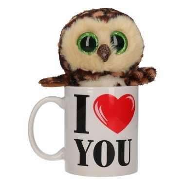 Valentijnsdag ontbijt op bed mok met knuffel uiltje