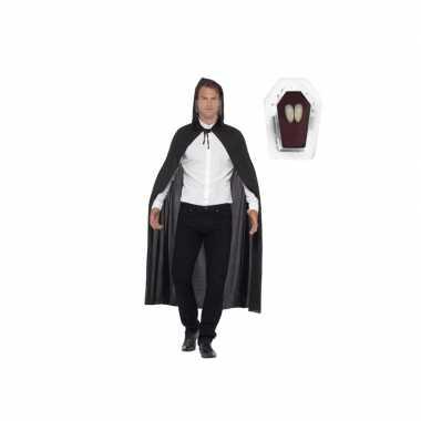 Vampier cape zwart inclusief hoektanden voor volwassenen