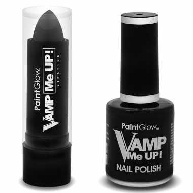 Vampieren schmink set mat zwarte lippenstift en nagellak