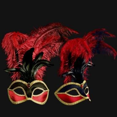 Venetiaanse fluwelen oogmaskers met rood/zwarte veren