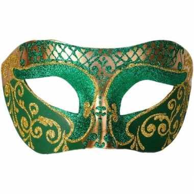 Venetiaanse maskers colombina groen/goud glitters