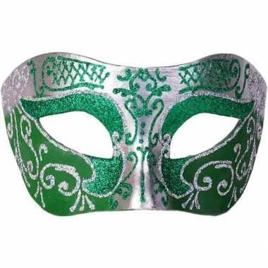 Venetiaanse maskers colombina groen/zilver glitters