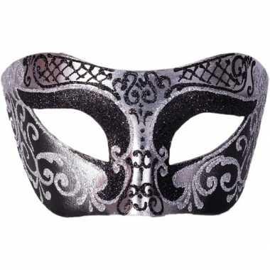 Venetiaanse maskers colombina zwart/zilver glitters