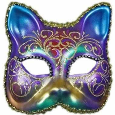 Venetiaanse maskers regenboog kat met strass