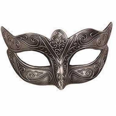 Venetiaanse maskers zilver kunststof