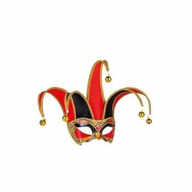 Venetiaanse maskers zwart met rood