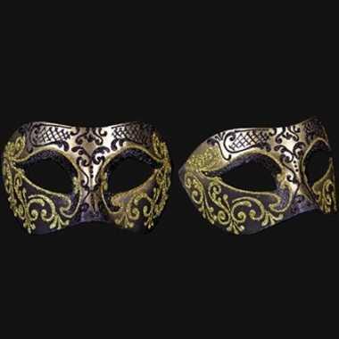 Venetiaanse oogmaskers barok goud en zwart