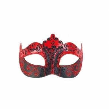 Venetiaanse oogmaskers barok rood/zwart