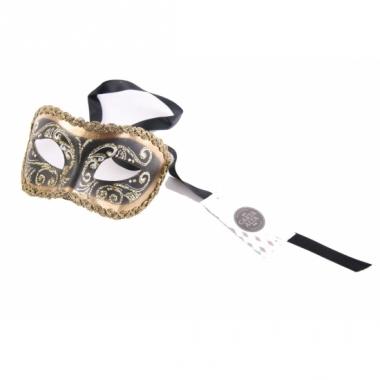 Venetiaanse oogmaskers barok zwart en goud