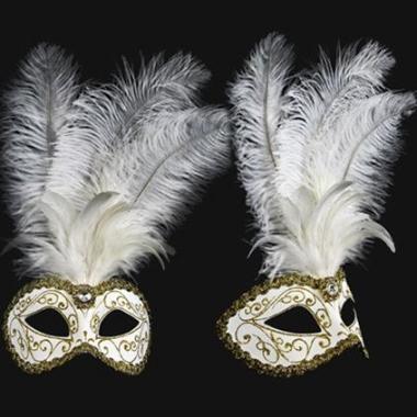 Venetiaanse oogmaskers met witte veren