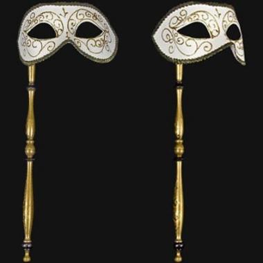 Venetiaanse oogmaskers op stok wit