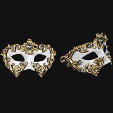 Venetiaanse oogmaskers wit met goud