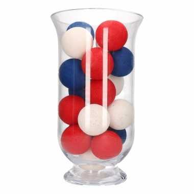 Vensterbank decoratie rood/wit/blauwe lichtslinger in vaas