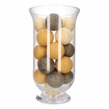 Vensterbank decoratie witte/gouden/antracieten lichtslinger in vaas