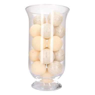 Vensterbank decoratie witte/zilveren lichtslinger in vaas