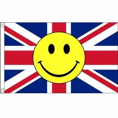 Verenigd koninkrijk vlag met smiley emoticon 90 x 150 cm