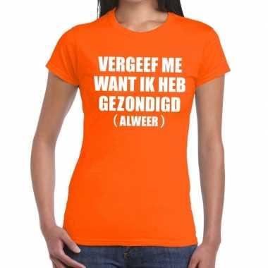 Vergeef me tekst t-shirt oranje dames