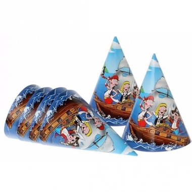 Verjaadags hoedjes piraat blauw 16 cm