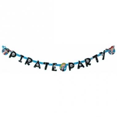 Verjaadags letterslinger piraat blauw